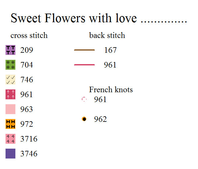 Floral cross stitch card chart key