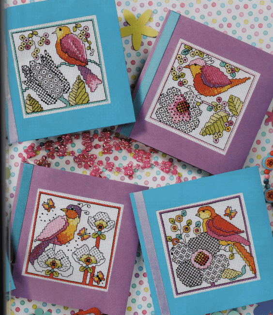 Bright bird cross stitch cards