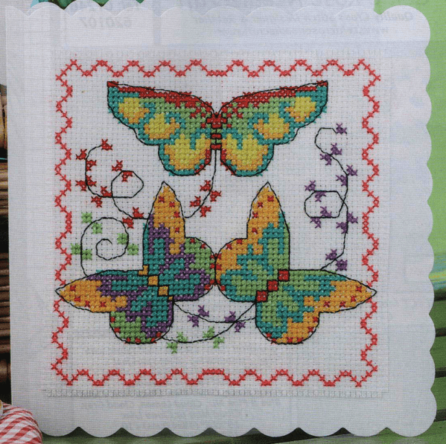 Kite birthday card cross stitch