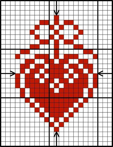 Red and white scandinavian heart pattern