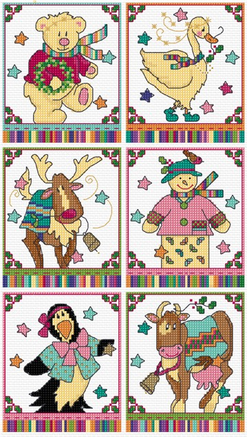 Character animal cross stitch cards