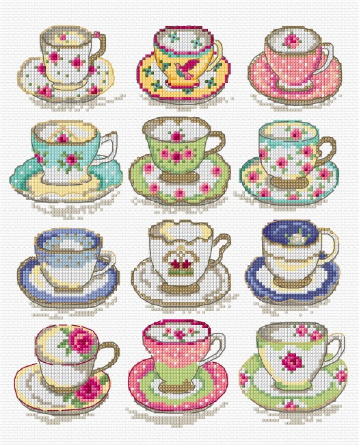 Vintage cups in cross stitch