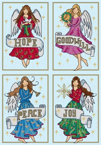 Christmas angels in cross stitch