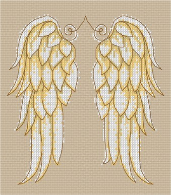 Angel wings in cross stitch