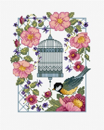 Roses, bird cage and great tit in cross stitch