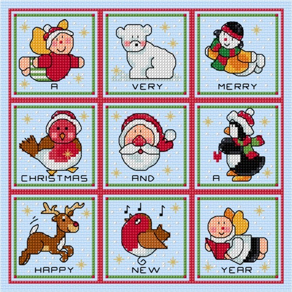 Christmas card sampler in cross stitch