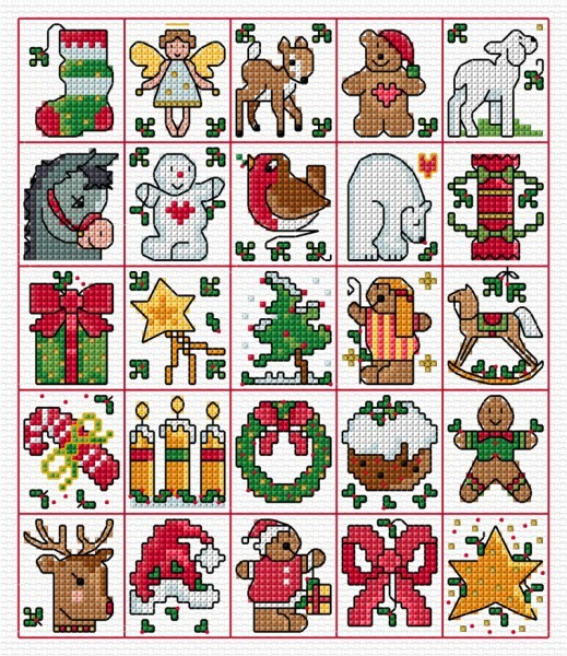 Christmas tags in cross stitch