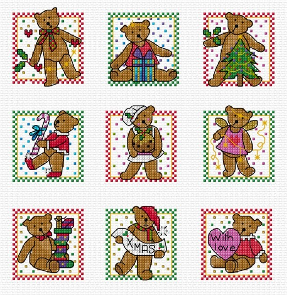 Christmas teddies in cross stitch