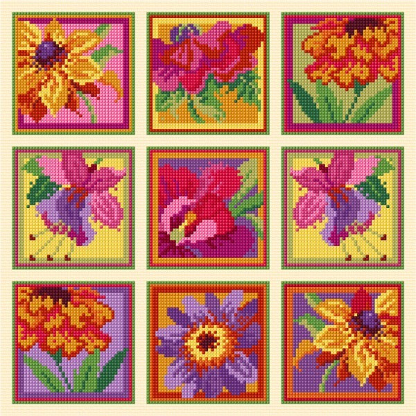colourful florals in cross stitch