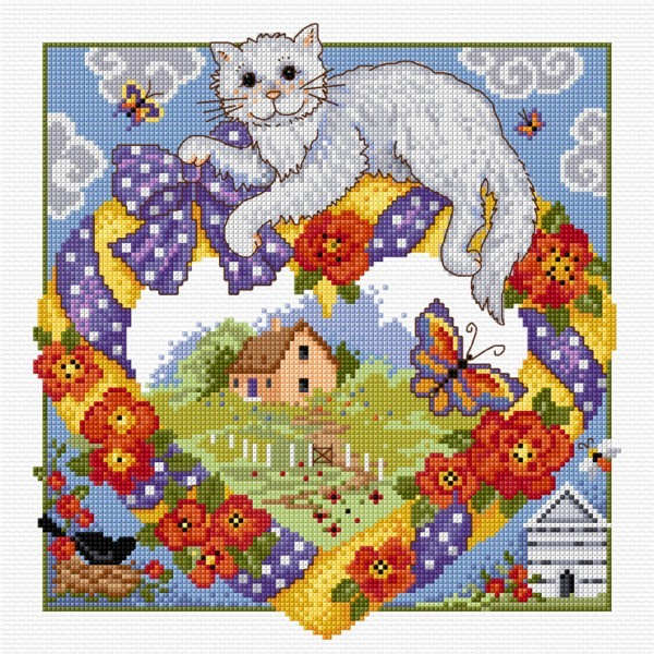 Cross stitch home and cat