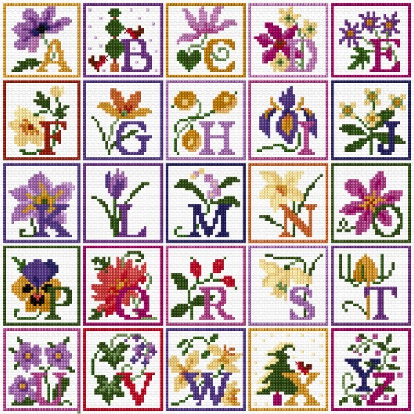 Floral alphabet in cross stitch