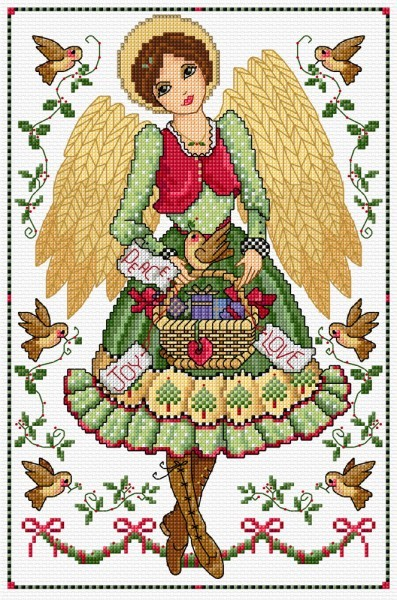 Folk art angel in cross stitch