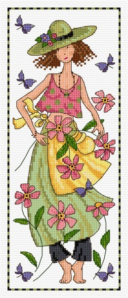 Cross stitch girl in the garden