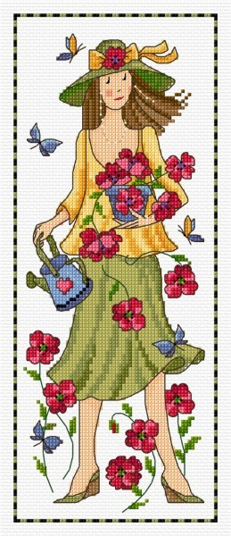 Garden lass in cross stitch