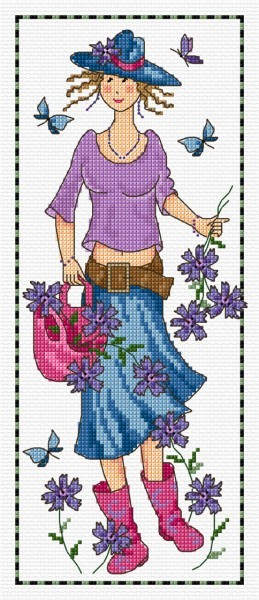 Garden girl in cross stitch