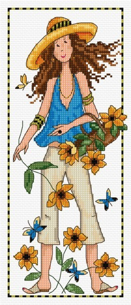 cross stitch lass in a garden