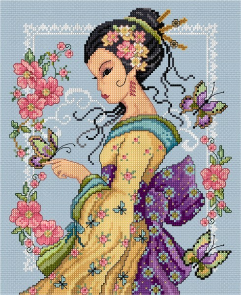 Oriental lady with butterfly in cross stitch