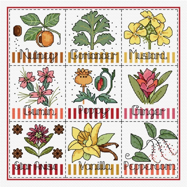 Spice flowers in cross stitch