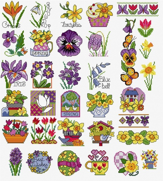 Spring flowers in cross stitch