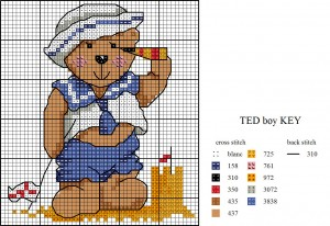Teddy cross stitch chart