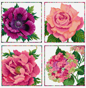 Summer flowers in cross stitch