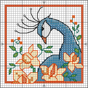 Peacock cross stitch card chart
