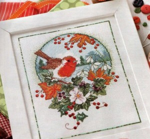 Winter Robin Cross stitch