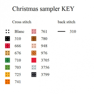 Christmas sampler chart key