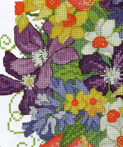 Detail from posy cross stitch