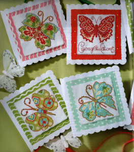 Butterfly cross stitch cards