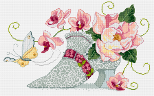 Shoe and flowers cross stitch