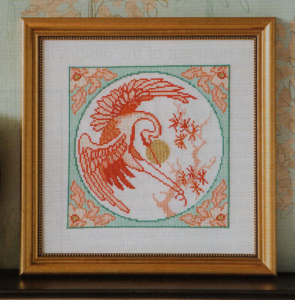 Oriental crane cross stitch
