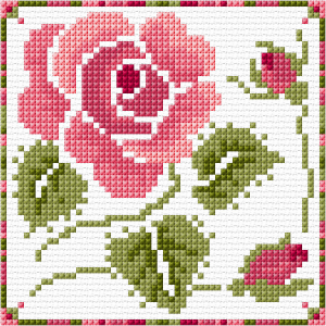 Rose cross stitch card