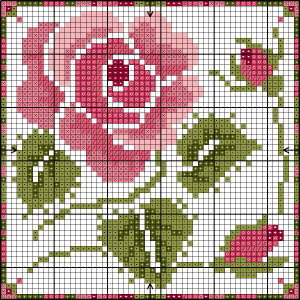 Rose cross stitch card chart