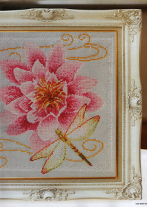 Waterlily and Dragonfly cross stitch