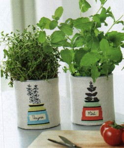 Herb pot cross stitch