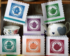 Tea pot cross stitch card