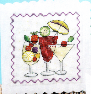 Cocktail birthday card cross stitch