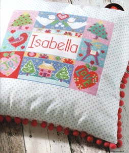 Cross stitch cushion with name