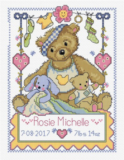 Teddy birth sampler