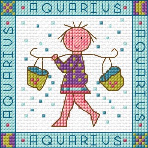 Zodiac Aquarius Cross Stitch