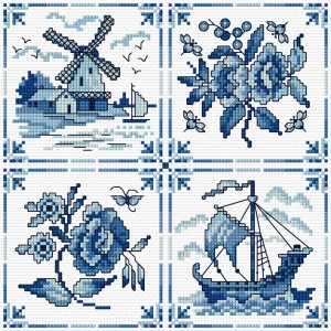Blue and white tiles in cross stich