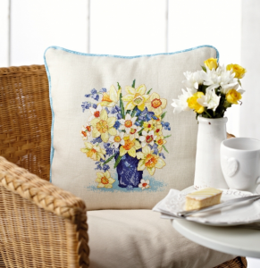 Spring flowers cross stitch cushion