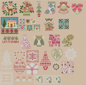 Christmas motifs in cross stitch