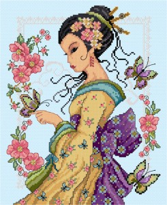Cross stitch oriental lady