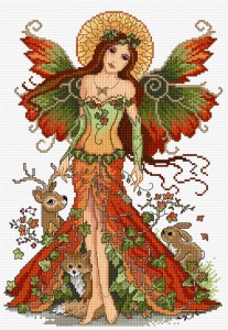 Autumn fairy in cross stitch