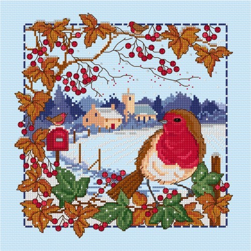Winter robin in cross stitch